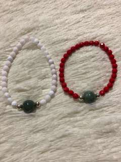 Swarovski and Jade bracelets