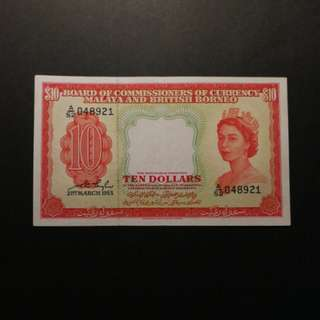 Malaya Queen $10 1953 (GEF)