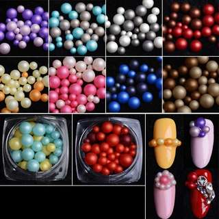 One pot 60g Mtssii Mixed Color Pearls Nail Art Decorations 3D Rhinestones Beads Nail Art Tips DIY Manicure Tool