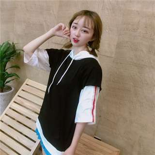 PO Fake 2 Piece Stripe Short Sleeve Hoodie T-Shirt 3 Colours