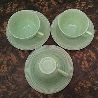 Green Jadeite Cup and Saucer (each set)