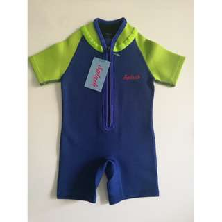 Baby wet suit that keeps baby warm in water