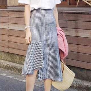 [Ready Stock] Black & White Checker Skirt