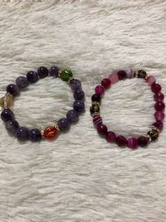 Precious Stones with Mantra Charms bracelets