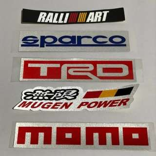 Automotive Sticker Reflector momo, TRD, Ralli Art, SPARCO, Mugen