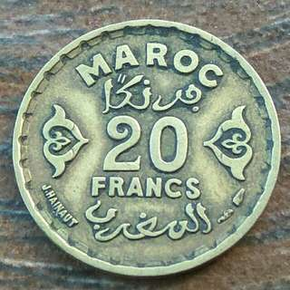 Morocco AH1371(1952) 20 Francs Coin With Good Details