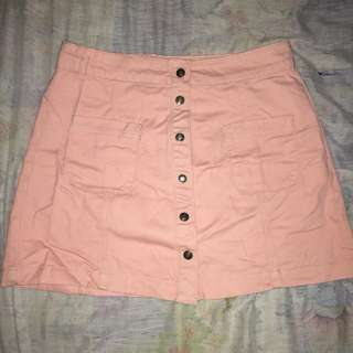 Pink button dow skirt