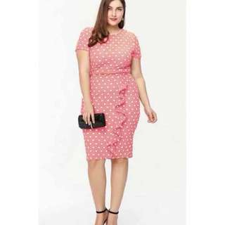 NEW PINK POLKA DOTS DRESS ( S TO LARGE CAN FIT PREORDER)