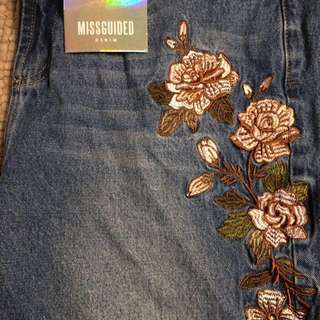 High rise embroidered mom jeans
