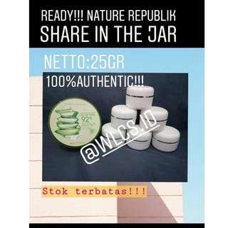 Nature republic aloevera 92% soothing gel Share in jar nett 25gr