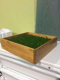 Wooden box + artificial grass