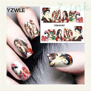 Water Transfer stickers for nail art Ancient Chinese ladies flower Design Fingernails Decals Manicure Decor Nail Wraps Decals