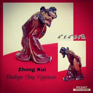 Vintage Clay or Porcelain Figure of Zhong Kui. $28 offer, sms 96337309.