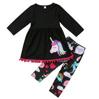 Unicorn Kids Baby Girls Outfit clothes T Shirt Long Dress + Long Pants