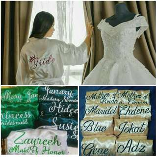 Personalized bridal robe and entourage robe