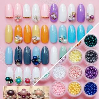 Japanese Style 3mm/4mm/5mm/6mm Mix Size Random Monochrome Series 1 Box Nail Matte Imitation Pearl Nail Arts Decorations