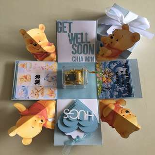 Pooh bear explosion box with hand wind musical box , 4 personalised photos