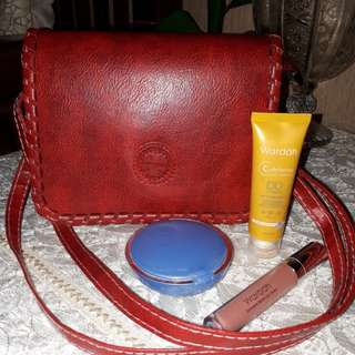 [NEW] Leather Sling bag - Red / Maroon