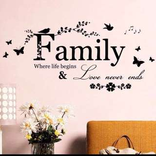 116X54cm family butterfly flowers wall decal sticker