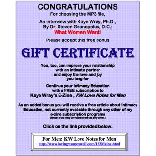 """What Women Want"" By Intimacy Educator Kaye Wray (For Men) (MP3 Audio Course)"