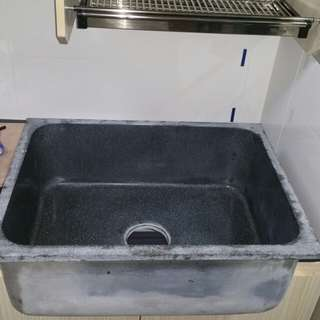 New Granite Sink with free almost new solid stainless steel dish rack .