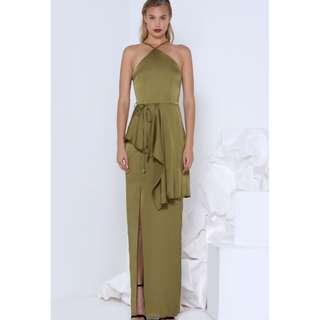 Khaki/Olive Formal Maxi Dress
