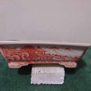伊藤月香赤繪長方樹鉢