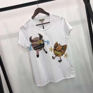 BURBERRY动物图案棉质短袖女裝T恤