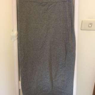 灰色開衩棉質長裙