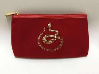紅色絨面化妝收納袋