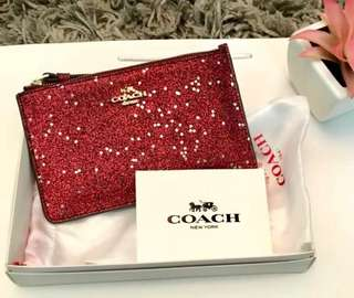 Authentic COACH latest glittery limited edition wristlet pouch bag set RED