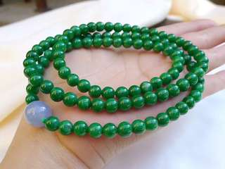6.2-6.5mm x 108 Beads Floral heavy green Jadeite bracelet necklace
