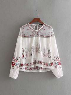 🔥Inspired Zara European Lace Embroidery Tassel Blouse