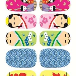 Rocooart Y5225 Manicure Foil Decor Decal Adhesive Nail Art Stickers Fashion Cute Sweet Japan Kimono Cartoon Nail Wrap Sticker