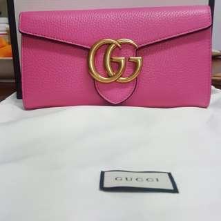 Gucci Marm0ht 正品 專櫃購買 桃粉色長夾