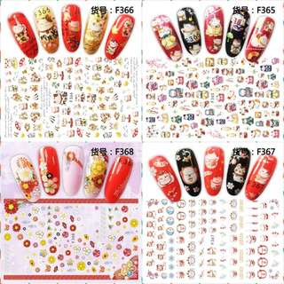 4 sheets Japanese style ADhesive decals Nail Art decorations Stickers acrylic nail accessories beauty manicure tools F365-368