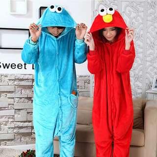 Elmo/Cookie Monster Adult Onesies