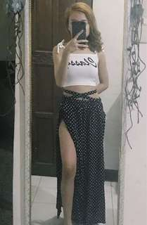 Polka square pants with full slit on both sides