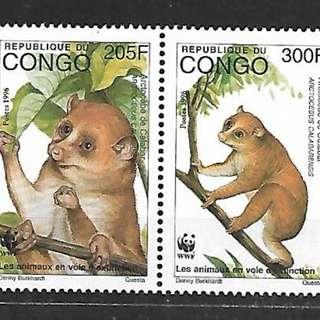 剛果1996熊貓徽WWF金熊猴4全新