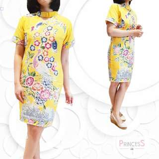Dress Batik Cap Encim Yellow