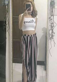 Stripes pants with half slit