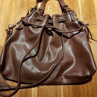 Brown Soft Leather Tassle Bag