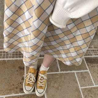 日系清爽黃白格紋棉麻半身裙 古著 古着