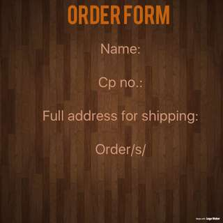 Order form and Mode of payment