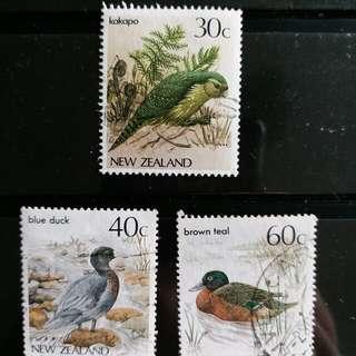 新西蘭郵票雀鳥已銷郵票三枚