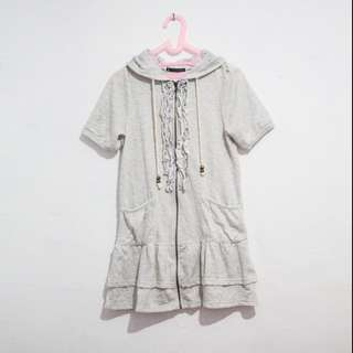 Jaket Dress Hoodie (Detail Lace / Brokat / Brukat) Abu-Abu / Gray Kawaii Tangan Pendek