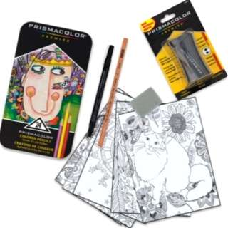 🚚 特價 現貨 全新 prismacolor 24色色鉛筆+推色筆+線搞筆+削鉛筆機+橡皮擦+著色本