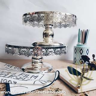 Dainty Lace Chrome 10/ 12 Inch Cake Stand (PLS READ INFO)