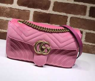 Gucci marmont flap bag in soft pink suede