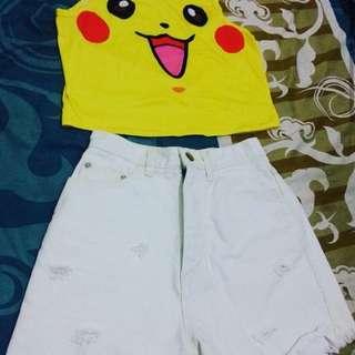 Hotpants size S top crop Pokemon .Take All